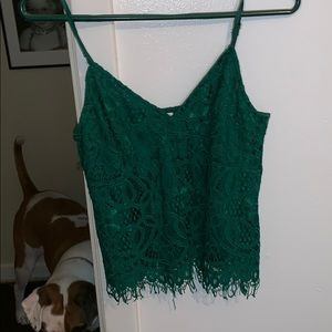 Green lace tank